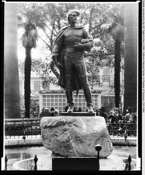View of a statue depicting the Governor Felipe de Neve, in Los Angeles Plaza, 1920-1939